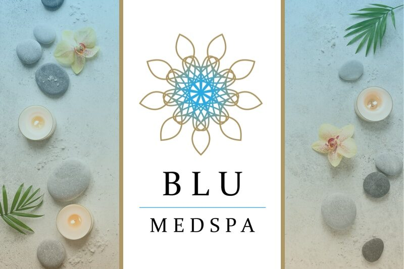 BLU Med spa logo on background with stones and flowers