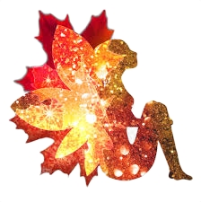 Fairy and leaf graphic in autumn colors